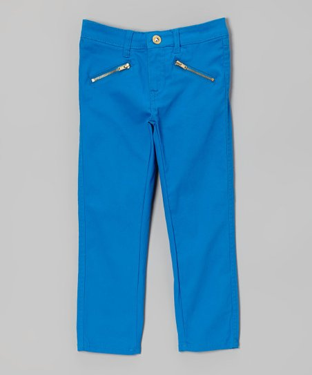 Blue Zipper-Pocket Pants - Toddler & Girls