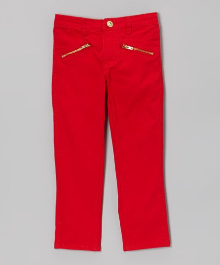 Red Zipper-Pocket Pants - Girls