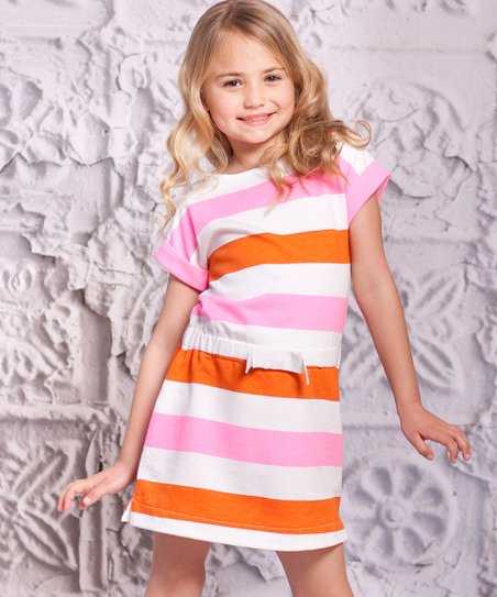 Orange Stripe Mariana Dress - Toddler & Girls