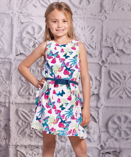 Turquoise Butterfly Lia Dress - Toddler & Girls