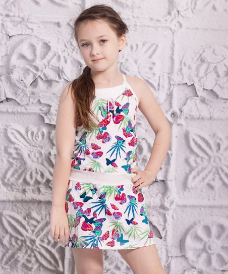 Turquoise Butterfly Spaggia Dress - Infant, Toddler & Girls