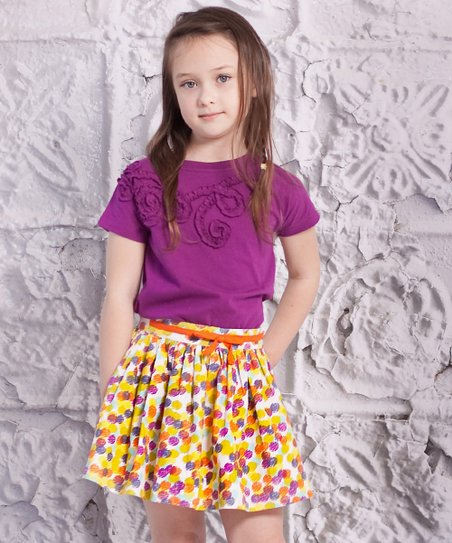 Purple Luna Top & Dot Carina Skirt - Toddler & Girls