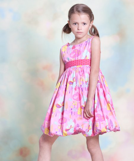 Yellow & Pink Nature Bubble Dress - Infant, Toddler & Girls