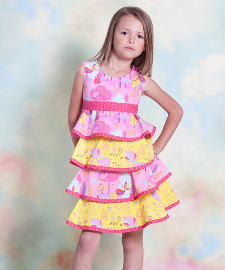 Yellow & Pink Nature Twirl Dress - Infant, Toddler & Girls