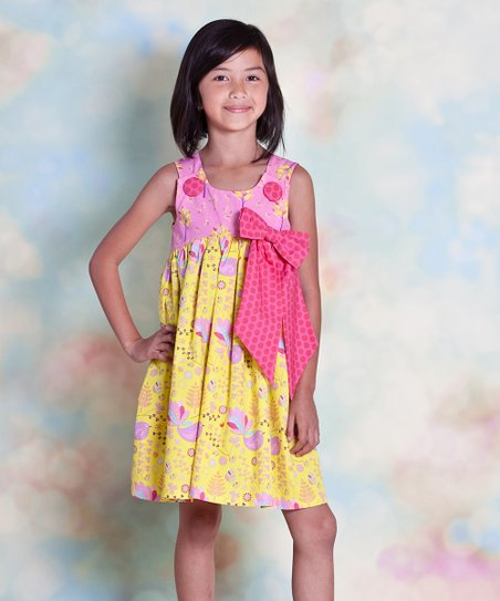 Yellow & Pink Nature Bow Dress - Infant, Toddler & Girls