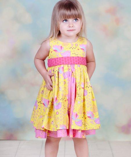 Yellow & Pink Nature Kate Dress - Infant, Toddler & Girls