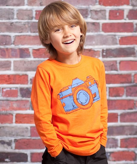 Orange Vintage Camera Mason Tee - Infant & Toddler