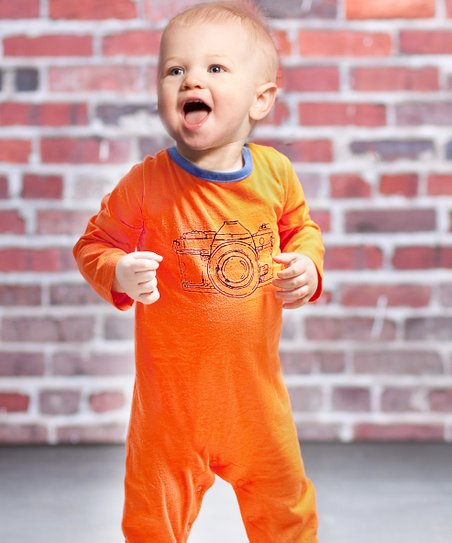 Orange Vintage Camera Dillon Romper - Infant