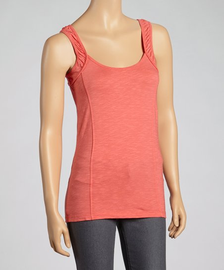 Guava Ruched-Shoulder Organic Tank
