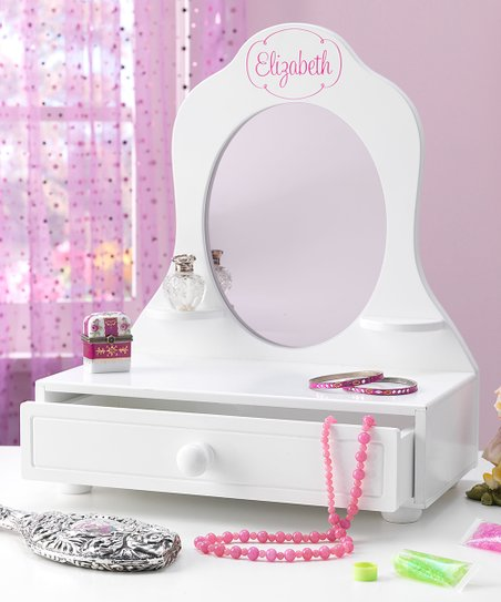 White Tabletop Personalized Vanity