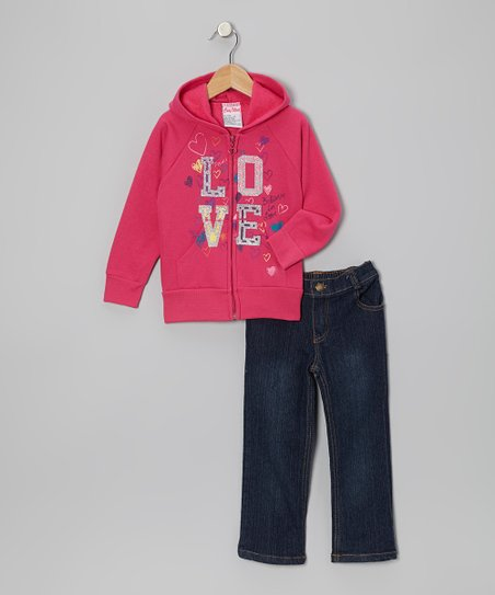 Pink 'Love' Zip-Up Hoodie & Jeans - Infant, Toddler & Girls