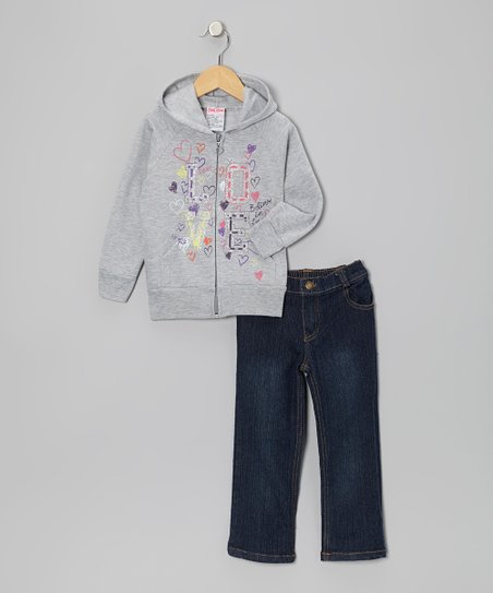 Gray 'Love' Zip-Up Hoodie & Jeans - Infant, Toddler & Girls