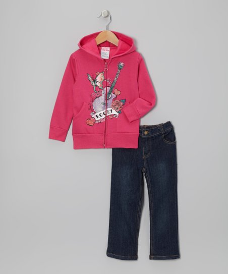 Pink 'Rock' Zip-Up Hoodie & Jeans - Infant, Toddler & Girls