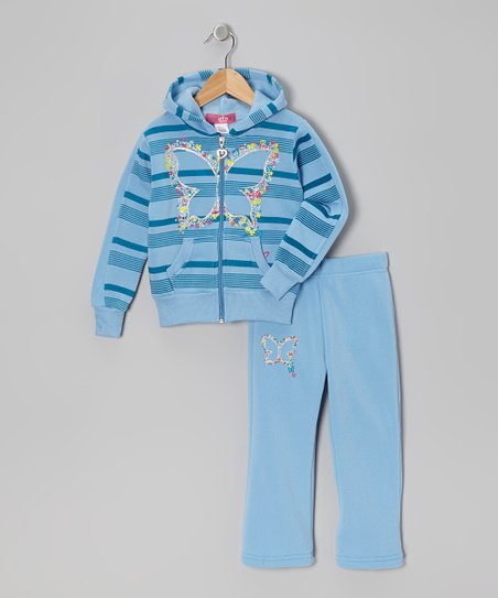 Blue Stripe Butterfly Hoodie & Pants - Toddler & Girls
