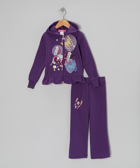 Purple Ruffle Zip-Up Hoodie & Pants - Toddler & Girls