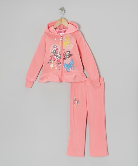 Light Pink Ruffle Zip-Up Hoodie & Pants - Toddler & Girls