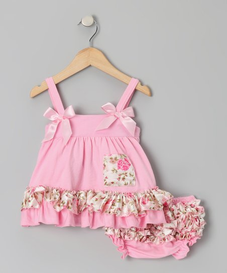 Pink Flower Ruffle Swing Tunic & Diaper Cover - Infant