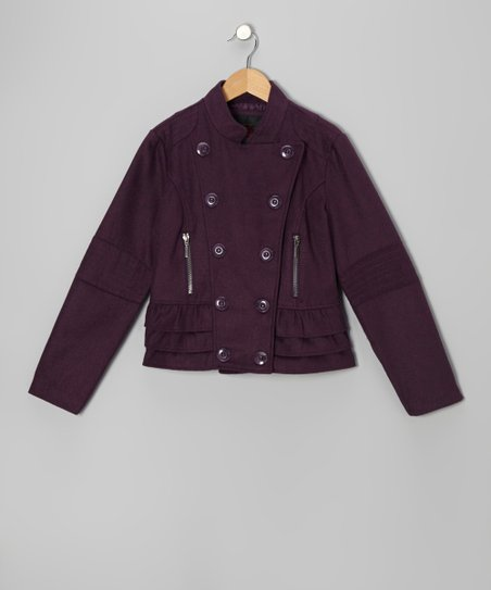 Purple Ruffle Military Jacket - Girls