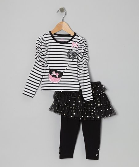 Black Stripe Tee Set - Toddler