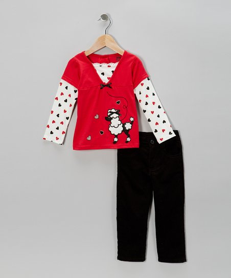 Red Poodle Layered Top & Black Pants - Toddler