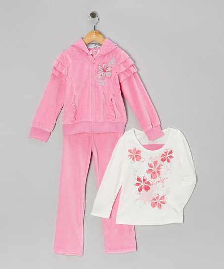 Pink Ruffle Zip-Up Hoodie Set - Girls