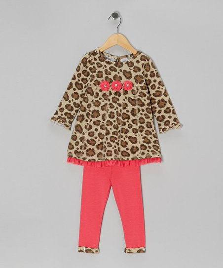 Beige Leopard Tunic & Coral Leggings - Infant, Toddler & Girls