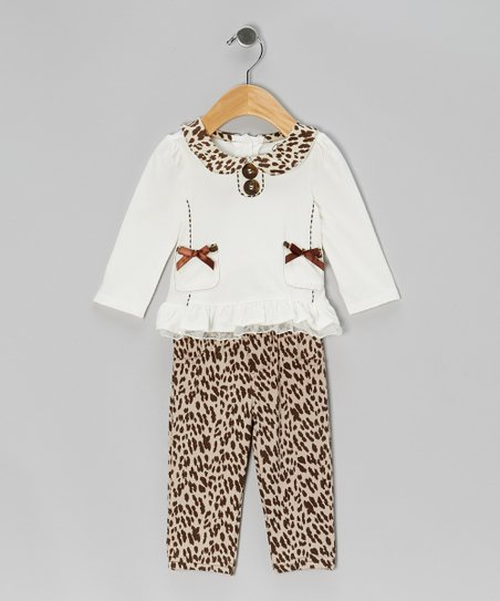 White Double-Bow Top & Beige Leopard Pants - Infant, Toddler & Girls