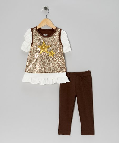 Brown Sparkle Layered Top & Pants - Girls