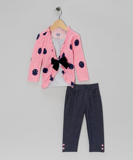 Pink Bow Layered Top & Denim Jeggings - Infant