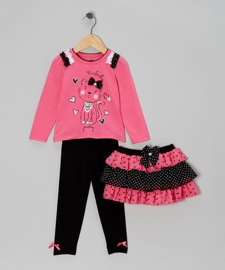 Bright Pink Hearts & Spots Skirt Set - Toddler