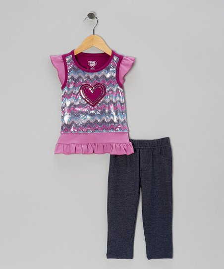 Purple Zigzag Sparkle Layered Top & Jeggings - Girls