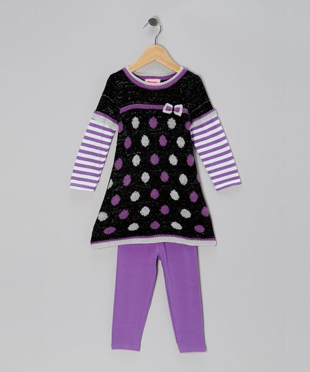 Purple Polka Dot Layered Tunic & Leggings - Infant, Toddler & Girls
