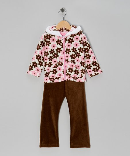 Brown Blossom Zip-Up Hoodie & Pants - Infant, Toddler & Girls