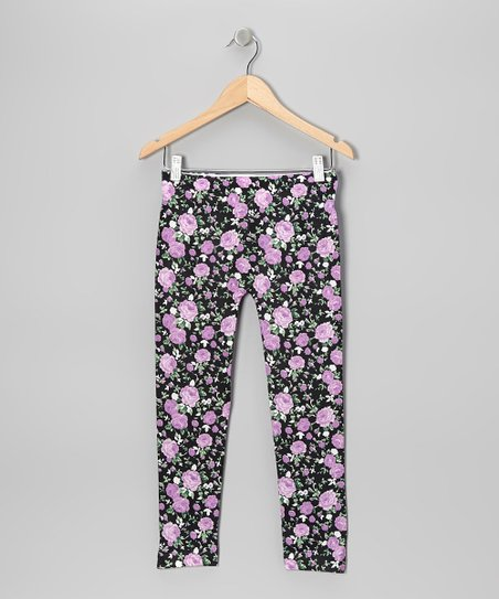 Purple Floral Leggings - Girls
