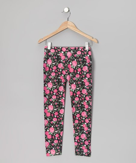Pink Floral Leggings - Girls