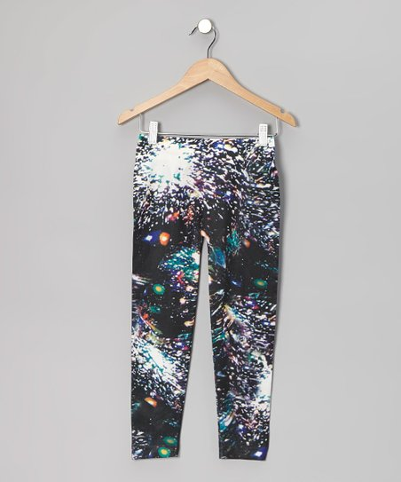 Black Galaxy Leggings - Girls