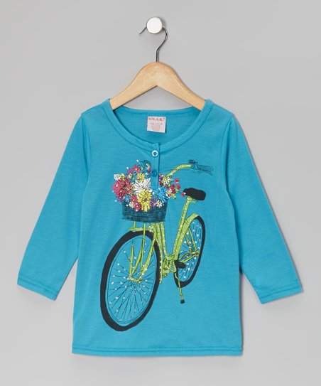 Turquoise Shimmer Bike Henley - Girls
