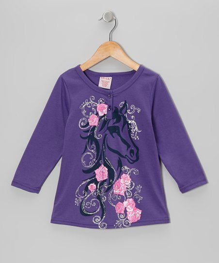 Purple Shimmer Horse Henley - Girls