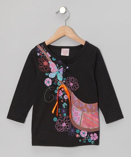Black Purse Long-Sleeve Top