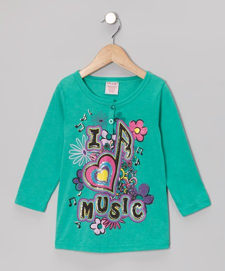 Teal 'I Love Music' Henley - Girls