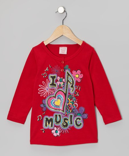 Red 'I Love Music' Henley - Girls