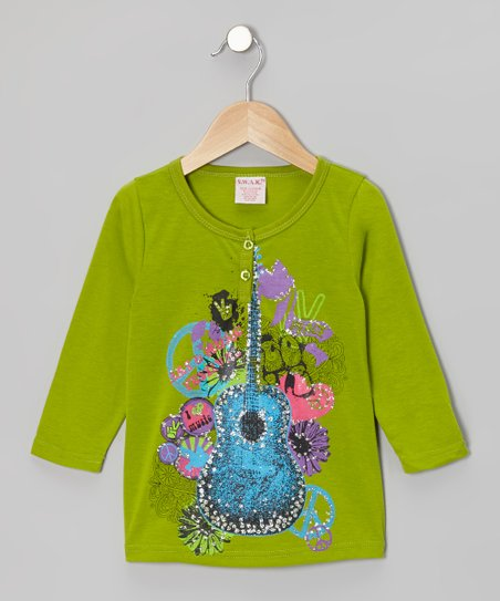 Olive Shimmer Guitar Henley - Girls