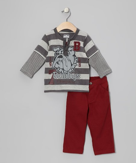 Gray Bulldog Layered Henley & Pants - Infant & Toddler