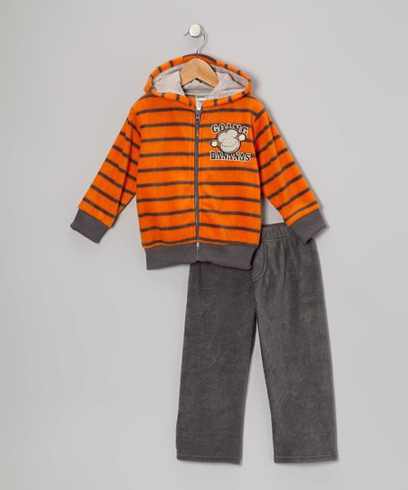 Orange Fleece Zip-Up Hoodie & Pants - Infant, Toddler & Boys