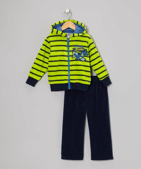 Green 'Aviator' Fleece Hoodie & Pants - Infant, Toddler & Boys