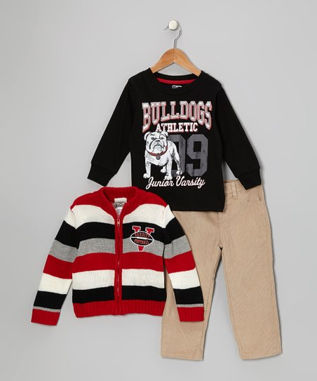 Red Stripe Varsity Zip-Up Cardigan Set - Infant & Toddler
