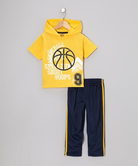 Yellow 'Basketball' Hooded Tee & Track Pants - Toddler