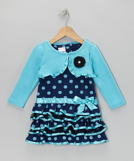 Aqua Polka Dot Dress & Shrug - Infant, Toddler & Girls