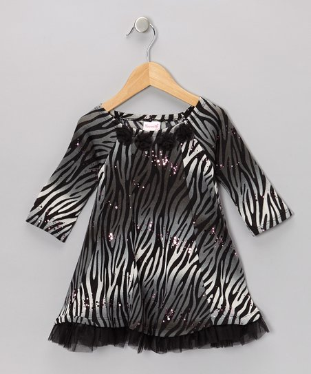 Black Zebra Glitter Dress - Infant