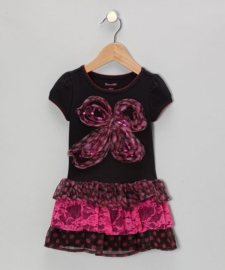 Hot Pink Bow Dress - Toddler & Girls